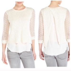 Lucky Brand Crochet Crew Neck Sweater